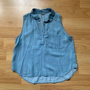 Paper Crane Light Blue Chambray Top with Buttons